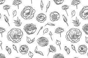 lisianthus seamless pattern