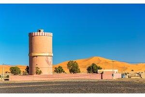 Water tower in Merzouga village at Sahara Desert, Morocco