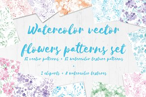 Watercolor vector flowers patterns