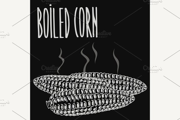 Chalkboard Boiled Steamed Corn Ears