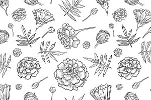 Vector marigold seamless pattern