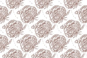 Vector seamless pattern of peony