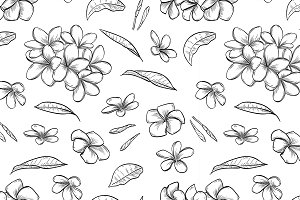 seamless pattern of plumeria flowers