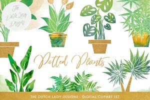 Potted Plants Clipart Set
