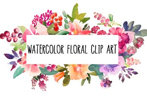 Watercolor flower clip art set 1