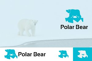 Polar Bear on Ice Logo Mascot