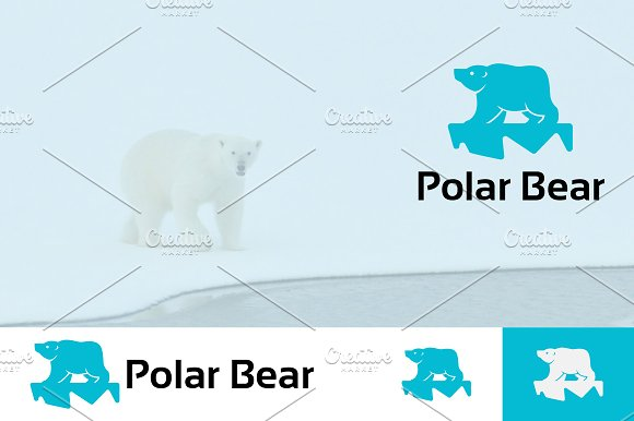 Polar Bear On Ice Logo Mascot