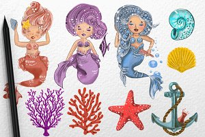 The Little Mermaids. Sea. Drawing.