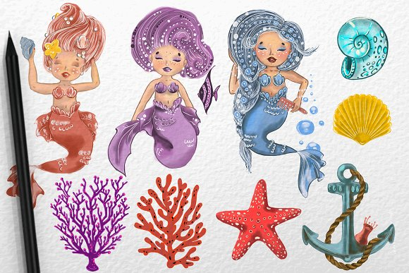 The Little Mermaids Sea Drawing