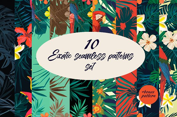 10 Exotic Seamless Patterns Set