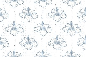 Vector hibiscus seamless pattern