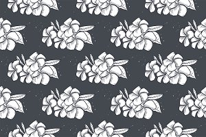 Vector seamless pattern of plumeria