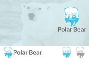 White Polar Bear on Iceberg Logo