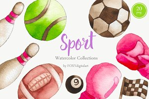 Watercolor Sports Fitness Clipart
