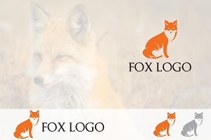 Simple Orange Fox Sit Logo Mascot