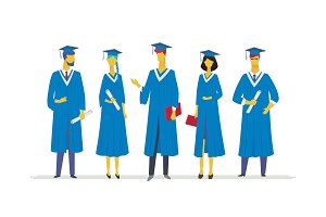 Happy graduating students - flat design style colorful illustration
