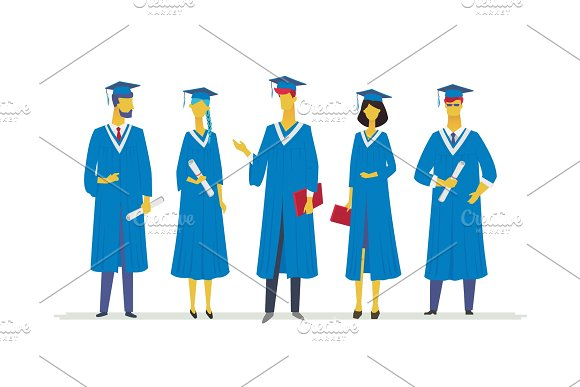 Happy graduating students - flat design style colorful illustration in Illustrations
