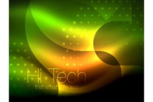 Glittering neon glowin wave, techno modern art abstract background, magical shiny template