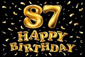 happy birthday 87 balloons gold