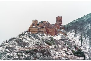 Saint Ulrich Castle in the Vosges Mountains near Ribeauville. Alsace, France