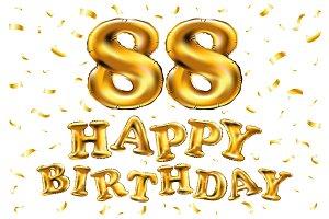happy birthday 88 balloons gold