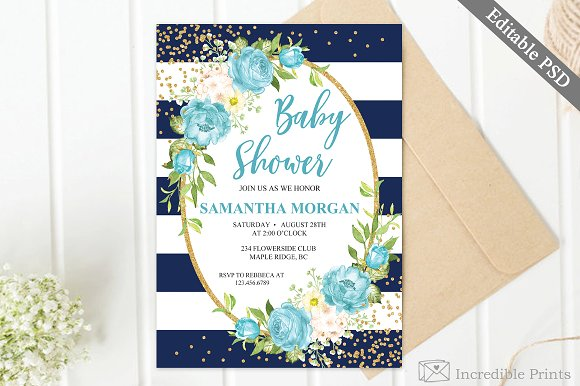 Navy And Gold Baby Shower Invite