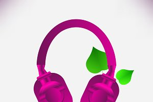 Pink headphones and green leaves