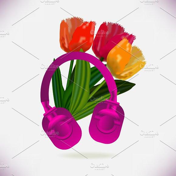Pink Headphones And Tulips