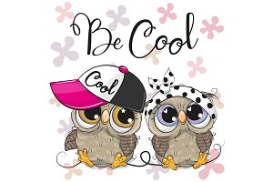 Two Cute Owls with a cap and bow