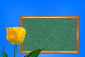 Chalkboard with yellow tulip flower