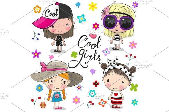 Cute Cartoon Girls On A Flowers Background