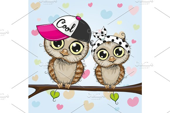 Cute Owls Is Sitting On A Branch
