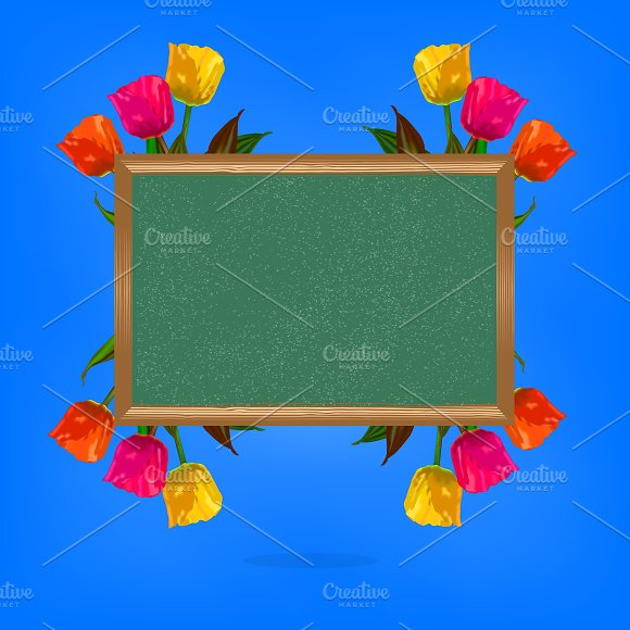 Chalkboard With Tulip Flowers