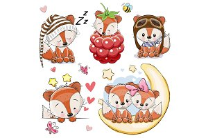 Set of Cartoon Foxes on a white background