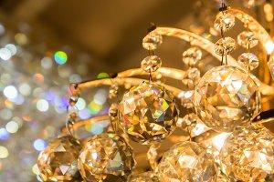 rainbow glass balls shining light