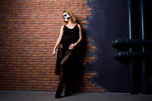 Halloween skull make up girl