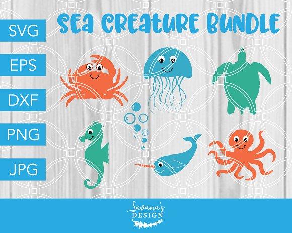Sea Creature SVG Bundle For Cricut