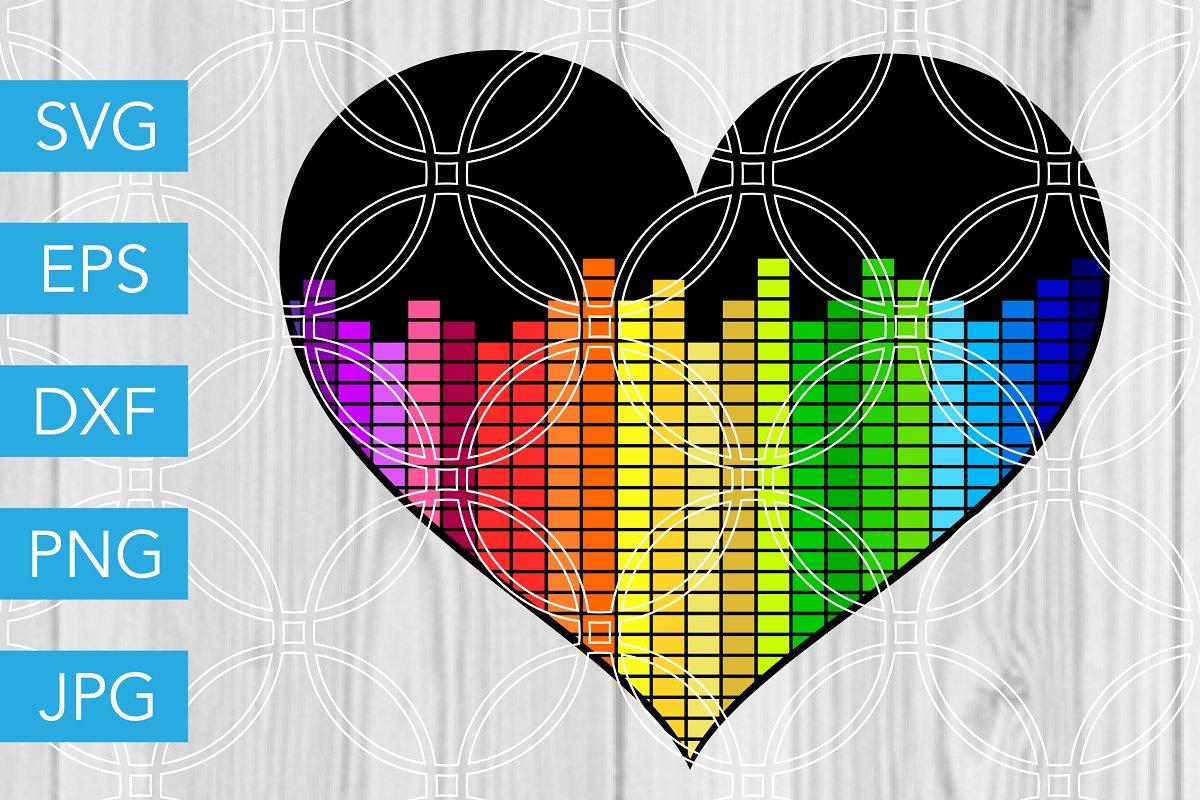 Heart Equalizer SVG Music Cut File in Illustrations