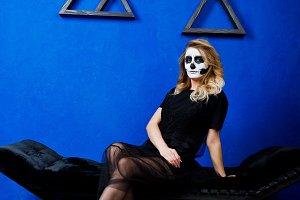 Halloween skull make up girl