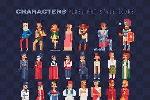 Pixel art characters icons set.
