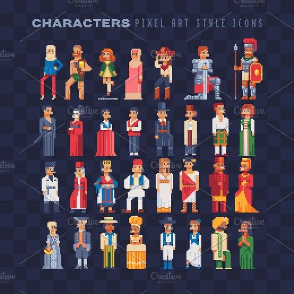 Pixel Art Characters Icons Set