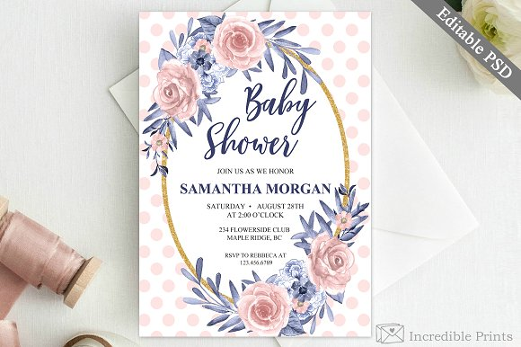 Navy And Pink Baby Shower Invite