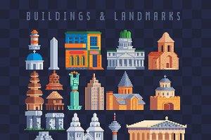 Buildings & landmarks Pixel art set.