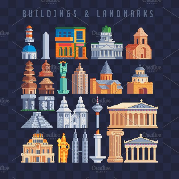 Buildings Landmarks Pixel Art Set