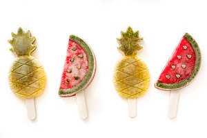 Pineapple and watermelon popsicles