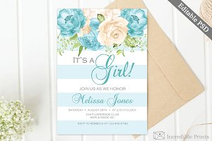 Blue Flowers Baby Shower Invite