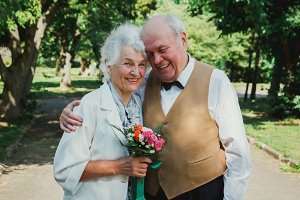 Old couple, wedding anniversary
