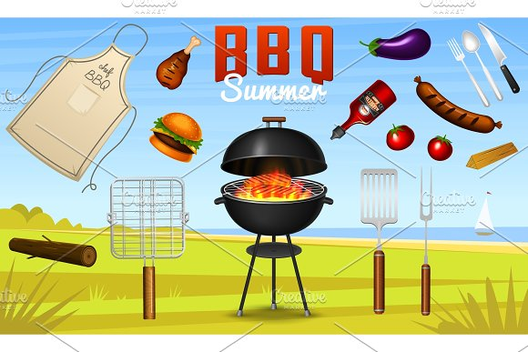 Barbecue Grill Elements Set Isolated On Red Background BBQ Party Poster Summer Time Meat Restaurant At Home Charcoal Kettle With Tool Sauce And Foods Kitchen Equipment For Menu Cooking Outdoors
