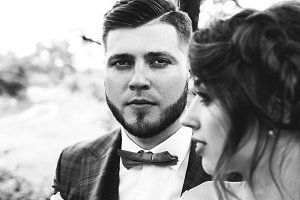 Beautiful wedding couple portrait