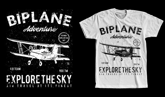 Biplane Retro Tshirt Design